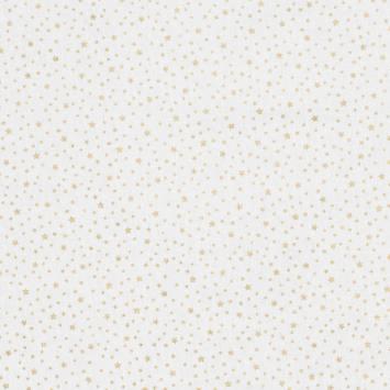 Coton blanc imprimé étoiles dorées