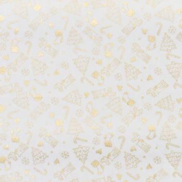 Coton écru imprimé de Noël doré