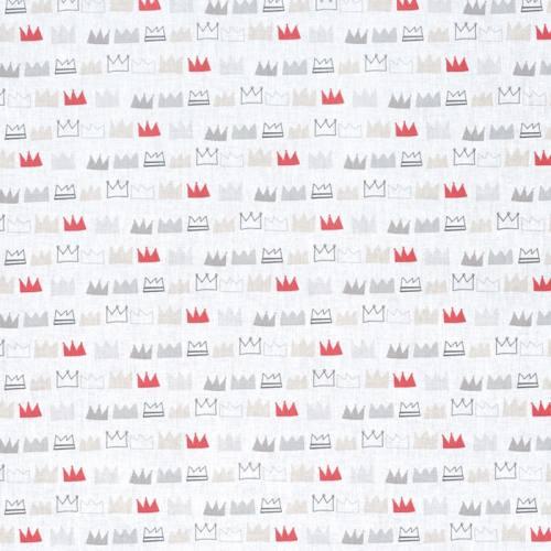 Coton blanc couronne grise et rouge