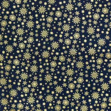Coton bleu marine imprimé de Noël doré
