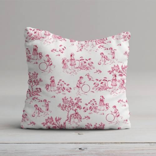 Coton blanc effet toile de jouy rose
