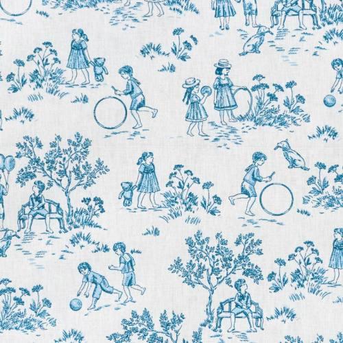 Coton blanc effet toile de jouy bleu