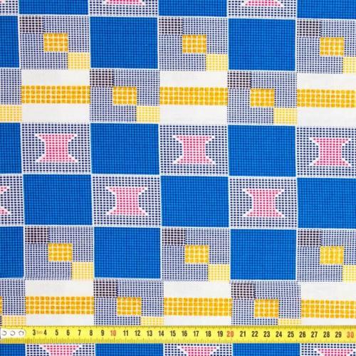 Wax - Tissu africain bleu et doré pailleté 63