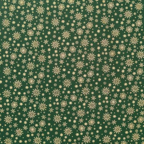 Coton Noël vert imprimé flocons dorés