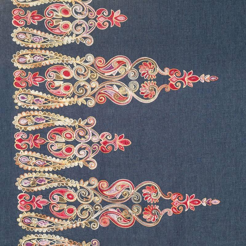 tissu jean bleu motif brod pas cher tissus price. Black Bedroom Furniture Sets. Home Design Ideas