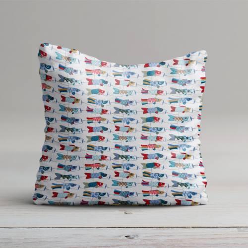 Coton imprimé mini cerfs-volants bleus