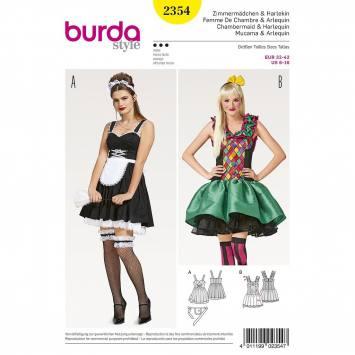 Patron Burda 2354 : Femme de chambre et Arlequin