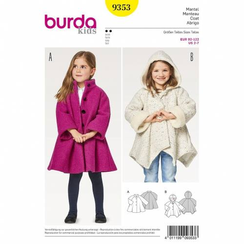 Patron Burda 9353 : Manteau fillette Taille 92-122 cm