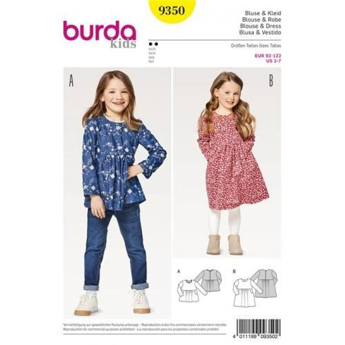 Patron Burda 9350 : Blouse et robe Taille 92-122 cm