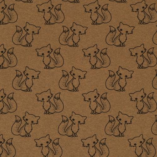 Tissu molleton French Terry chiné noisette imprimé renards