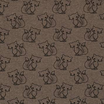 Tissu molleton French Terry chiné taupe imprimé renards