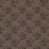 Tissu molleton French Terry chiné taupe imprimé renards