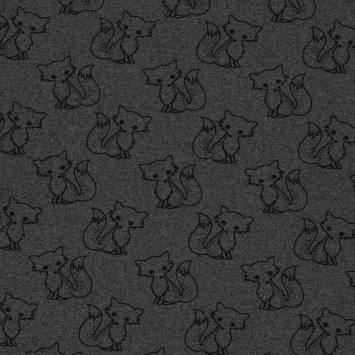 Tissu molleton French Terry chiné anthracite imprimé renards