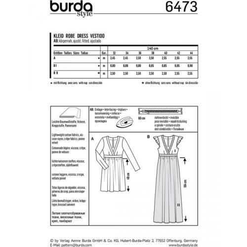 Patron Burda 6473 : Robe Taille : 32-44
