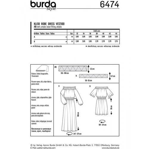 Patron Burda 6474 : Robe Taille : 32-44