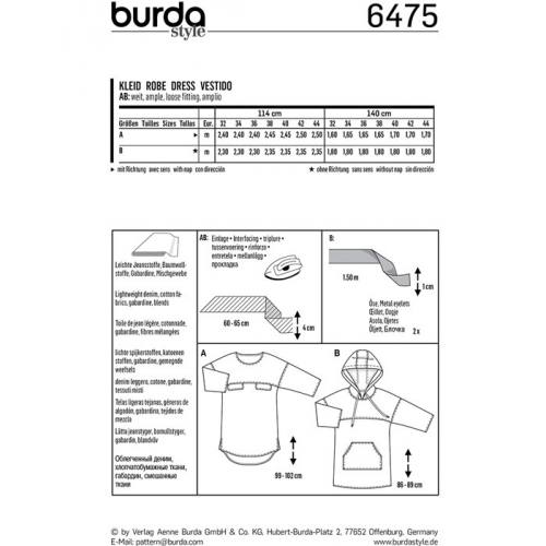 Patron Burda 6475 : Robe Taille : 32-44