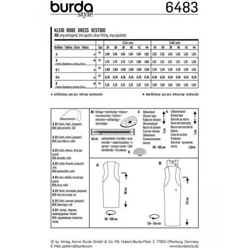 Patron Burda 6483 : Robe Taille : 34-44