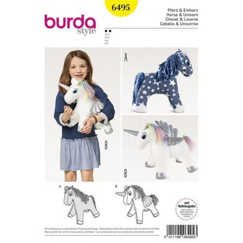 Patron Burda 6495 : Cheval et licorne Taille : 30 cm