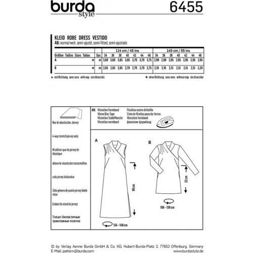 Patron Burda 6455 : Robe Taille : 34-46