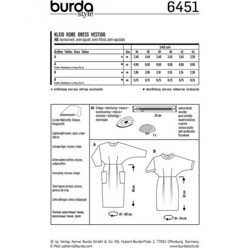 Patron Burda 6451 : Robe Taille : 34-44