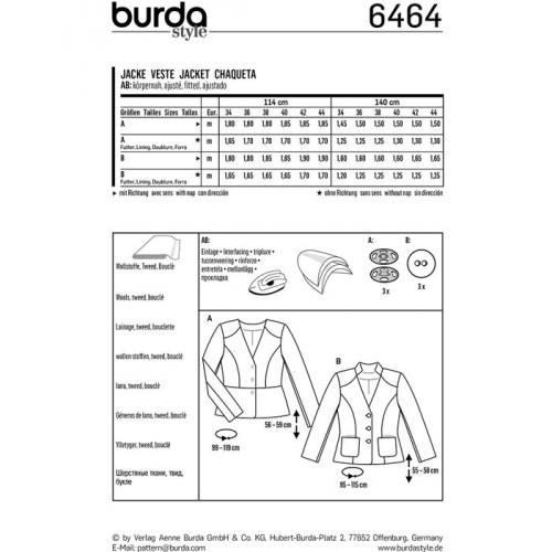Patron Burda 6464 : Veste Taille : 34-44
