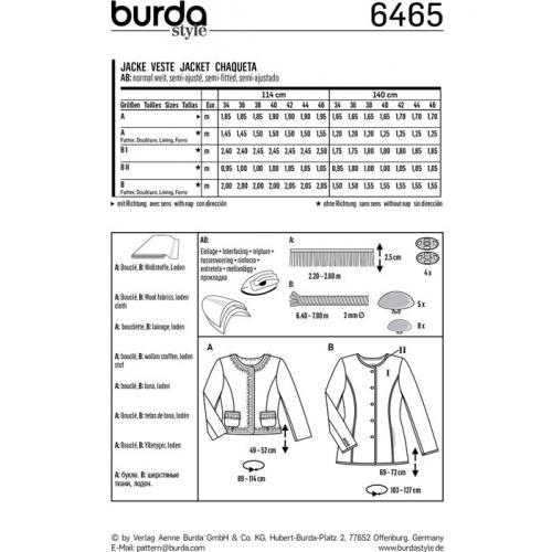 Patron Burda 6465 : Veste Taille : 34-46
