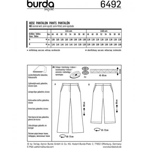 Patron Burda 6492 : Pantalon Taille : 46-60