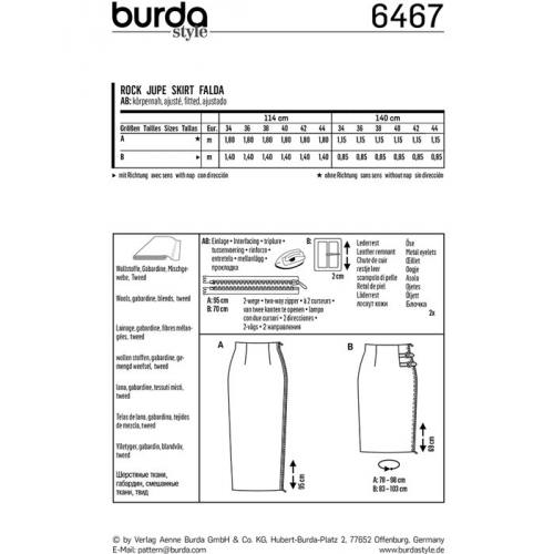 Patron Burda 6467 : Jupe Taille : 34-44