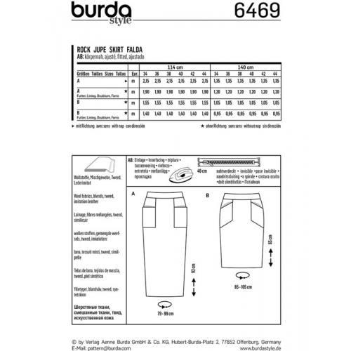 Patron Burda 6469 : Jupe Taille : 34-44