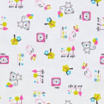 Coton blanc imprimé teddy rose et vert