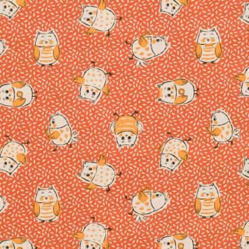Coton orange motif grain de riz et chouette