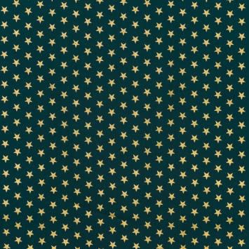 Coton Noël vert imprimé étoiles dorées