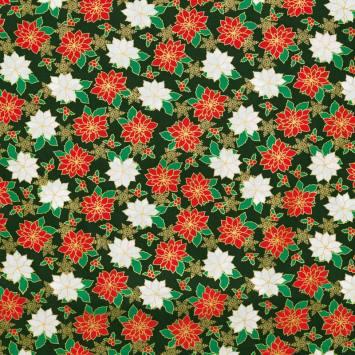 Coton Noël vert motif fleurs de Noël