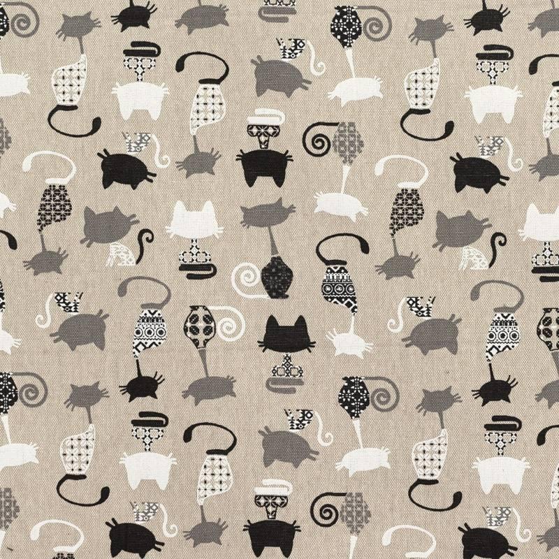 toile coton aspect lin imprim chat pas cher tissus price. Black Bedroom Furniture Sets. Home Design Ideas