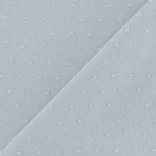 Voile de coton plumetis gris bleuté