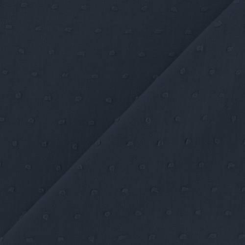 Voile de coton plumetis bleu marine