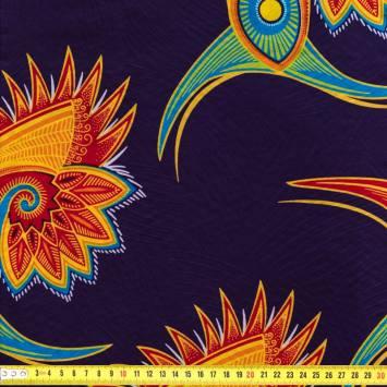 Wax - Tissu africain enduit violet motif oiseau du paradis 92