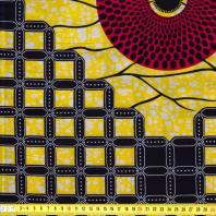 Wax - Tissu africain jaune, rouge et noir 88