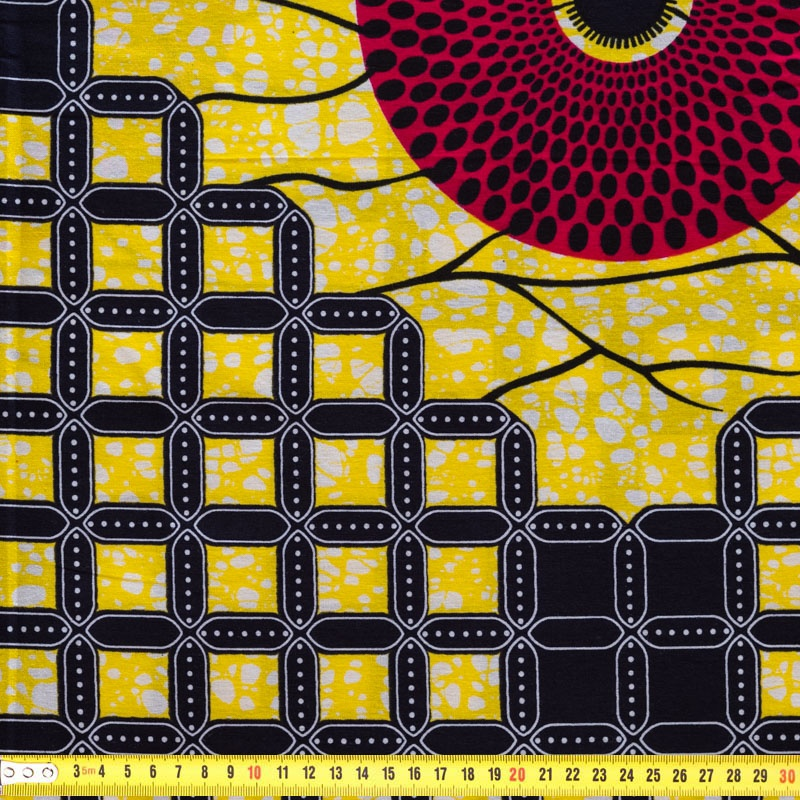 wax tissu africain jaune rouge et noir pas cher tissus price. Black Bedroom Furniture Sets. Home Design Ideas