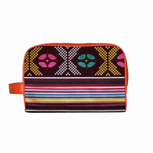 Trousse Wax - Tissu africain multicolore géométrique 77