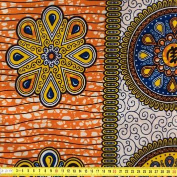 Wax - Tissu africain orange imprimé mandala 75