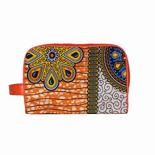 Trousse Wax - Tissu africain orange imprimé mandala 75