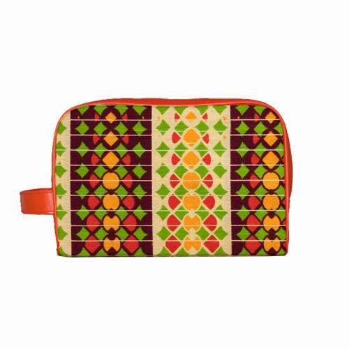 Trousse Wax - Tissu africain orange imprimé bandes géométriques 79