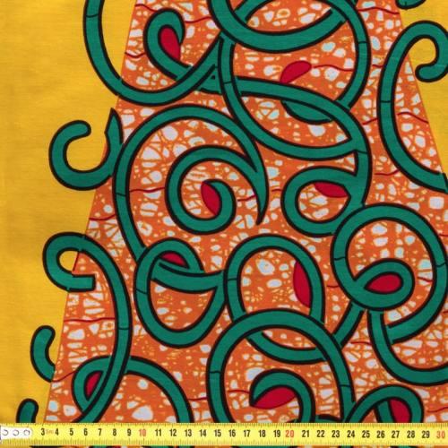 Wax - Tissu africain jaune imprimé végétal 73