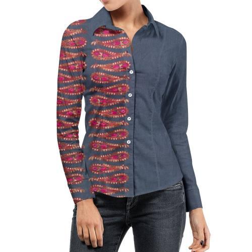 Tissu jean bleu motif cachemire rose et rouge