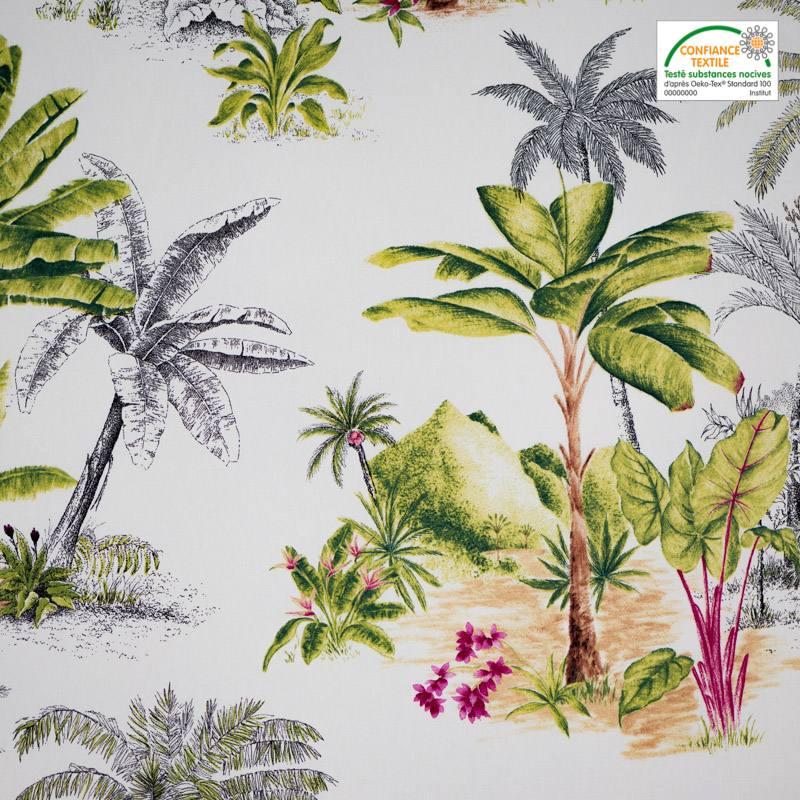 coton percale ivoire motif jungle grande largeur pas cher. Black Bedroom Furniture Sets. Home Design Ideas