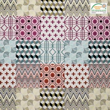 Jacquard ivoire motif géométrique multicolore