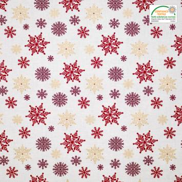 Coton Noël motif flocon rouge et or