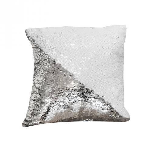 Housse coussin sequins réversibles blanc/argent 50x50 cm