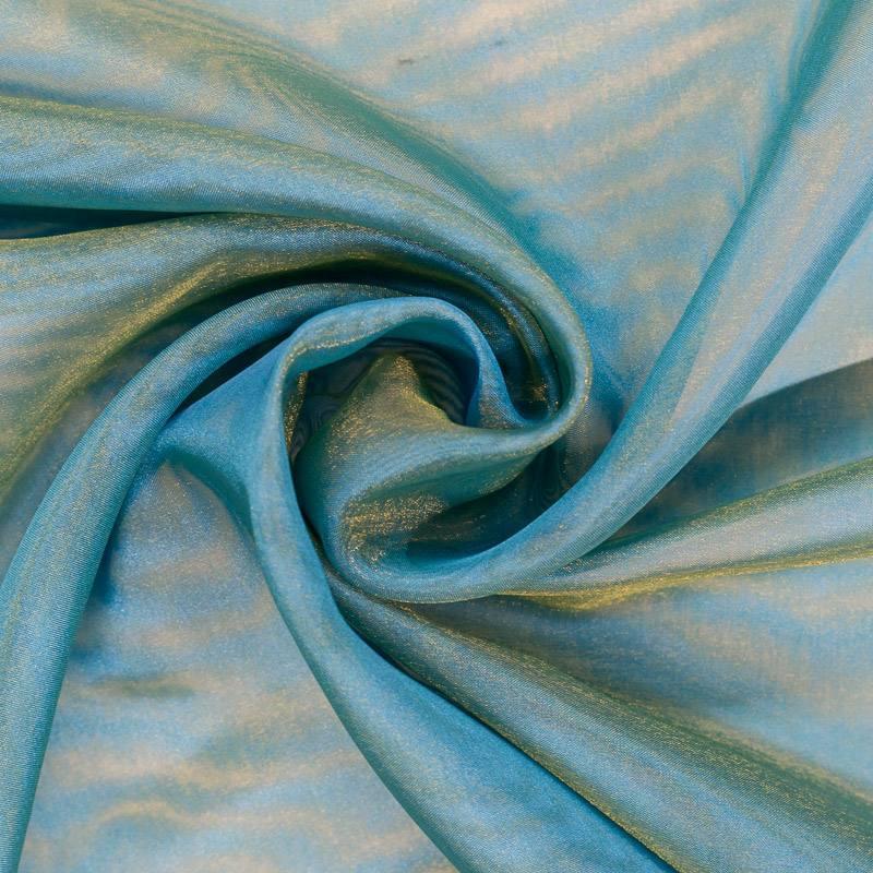 voilage organza bicolore bleu turquoise et jaune pas cher tissus price. Black Bedroom Furniture Sets. Home Design Ideas